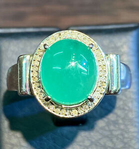 NATURAL COLOMBIAN EMERALD 11X10 NATURAL DIAMOND 42 PC. STERLING SILVER 925 RING
