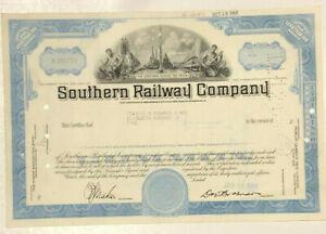 Southern Railway Company 1968 blue railroad stock certificate