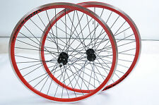 "PAIR 26""MTB SPECIAL WHEELS RED AIRLINE DOUBLE WALL RIM 5,6 or 7 SPEED(559x21c)"