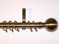 28mm Antique Brass Curtain Pole System with Ball Finials 1.2m 1.5m 2.4m 3m