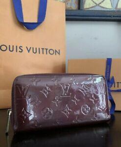 100% Auth Louis Vuitton Vernis Leather Amarante Long Zippy Wallet /Organizer