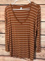 OLD NAVY Luxe Women's Striped Long Sleeve V Neck Shirt Size XL Marron/White