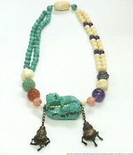 Antique Asian Chinese Silver Carved Turquoise Coral Foo Dog Lion Bead Necklace