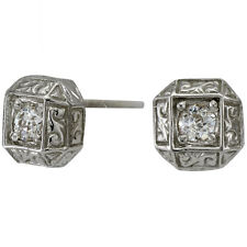 Diamond Stud Earrings Stud Diamonds Art Deco Design In 14K White Gold