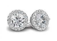 1.50ct Round Cut Solitaire Halo Pave Earring Studs Solid 14K WhiteGold Screwback