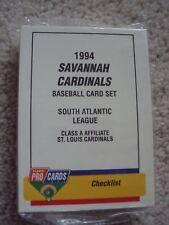 1994 SAVANNAH CARDINALS  MINOR LEAGUE BASEBALL TEAM SET (31 CARDS) FPC