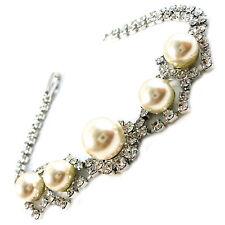 USA Bracelet Fashion Style handmade Silver Austrian CRYSTAL large white pearl
