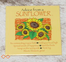 """LEANIN TREE """"Advice From A Sunflower""""~#26494 Magnet~Keep on Sunny Side~Think Big"""
