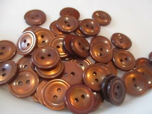LOT OF 50 BROWN  COLOR 11/16 INCH 2 HOLE BUTTONS, NEW, #2