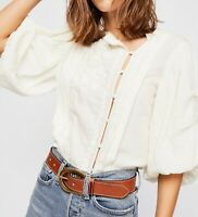 Free People Sweet Romance Top M Embroidered Pleated Billowy Sleeve Boho Blouse
