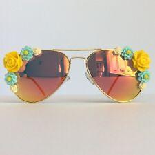 CHLOE-pinksandminks Amber Réfléchissant ornée de soleil jaune fleur bleu
