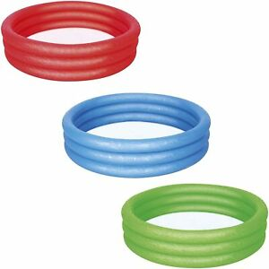 3 Ring Round Paddling Pool 100 X 18 cm Inflatable Kids Play Pool - Green OR Red
