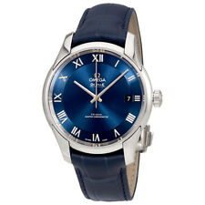 Omega De Ville Hour Vision Blue Dial Alligator Leather Automatic Mens Watch