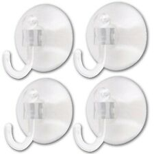 4 x WINDOW SUCTION CUP HOOKS 25mm SUCKER HANGER Small Clear Plastic Hanging UK