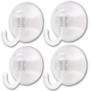 SUCTION CUP HOOKS 25mm 4x Window Sucker Hanger Small Clear Plastic Hanging UK