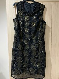 Womans Adrianna Papell Black Cocktail Dress Size 14