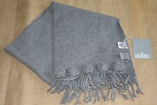 New Sweet! CULLEN 100% Cashmere Scarf  Soft Fringe NWT  Gray Embellished