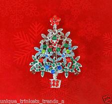 VINTAGE STYLE MULTI RED CHRISTMAS TREE RHINESTONE CRYSTAL SILVER GIFT BROOCH PIN