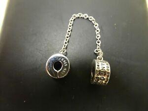 Genuine PANDORA Logo Signature Safety Chain Clip Charm Sterling Silver 792057