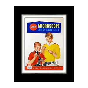1960 Gilbert Microscope and Lab Set - Matted for 11x14 Frame