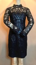 BNWT REISS Asabi Midnight Blue Sequin Lace Bodycon Dress . UK Size 8. SAVE £170!