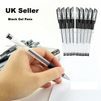 Pack 7 BLACK GEL INK PENS -Smooth Flow Ink. Handwriting, Home, School or Office