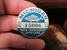 1929 Michigan Fishing License Button, Rare Non-Resident Special Fishing License