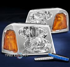 FOR 2002-2009 GMC ENVOY XL XUV REPLACEMENT CHROME HEADLIGHT +BUMPER BLUE LED DRL