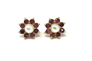 Stunning Pair of Vintage 9ct Yellow Gold Ruby & Pearl Cluster Stud Earrings #28
