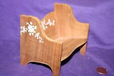 Vintage Dollhouse Miniature Wooden Wood Bench Chair Seat Hand painted design
