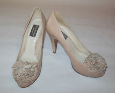 ZARA WOMAN COLLECTIONS WOMENS SHOES BEIGE LEATHER PLATFORM PEEP TOE PUMP SIZE 37
