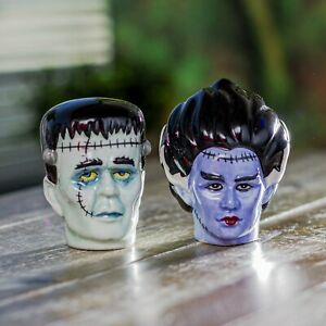 PACIFIC GIFTWARE Frankenstein Bust Ceramic Food Salt and Pepper Shakers