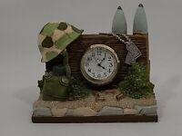Timezone Co. Nikko Quartz VTG Timepiece Military Honor Clock Hand Painted Resin