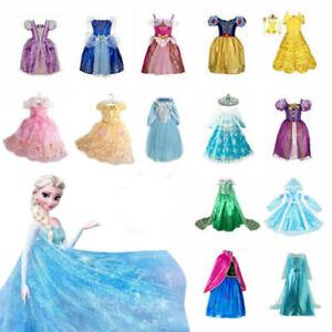 Kinder Mädchen Prinzessin Kleid Cosplay Kostüm Elsa Belle Aurora Cosplay Party