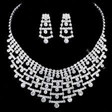 Gorgeous Bridal Wedding Jewelry Rhinestones Crystal Necklace Earrings Set N351