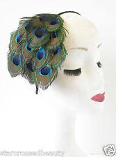 Real Peacock Feather Fascinator Headband Headpiece Vintage 1920s 1940s Black S29