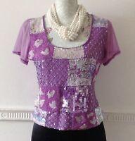 Aftershock Lilac Evening Top Sequin Beaded Sheer Net Short Sleeve Size L  UK 12