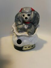 """Jim Beam Bottle Club Decanter TIFFANY Poodle Dog Gray Bows No Stopper 9"""" Empty"""
