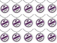 Lot of 15 GRAPE SODA inspired Bottle Cap NECKLACES for Birthday , Party Favors