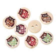 100 Pz Misti 2 Fori in Legno Tondo Animale Gufo per cucire Card Craft Pulsanti 15mm