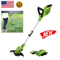 "10"" Electric Cordless String Trimmer Edger Auto Single-Line Feed Gas Free 18V US"