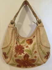 ISABELLA FIORE LEATHER FLOWER PATCH ANGELINA  HOBO BAG~TAN W/BROWN NICE!