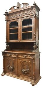 Antique Buffet, Hunt, Henri II Style Carved Oak Buffet Deux Corps, 19th C.!!
