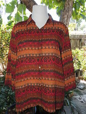 FRENCH LAUNDRY SIZE LARGE LIGHTWEIGHT BUTTON UP POLYESTER BLOUSE