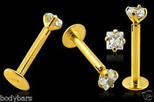 9k Carat Gold 3mm Square Claw Set Gem Cartilage Tragus Labret Barbell 16g 8mm