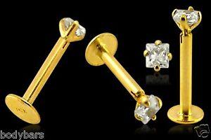 Labret Monroe Bar 9K Carat Genuine Gold 3mm Square Claw Set Gem Tragus 16g 8mm
