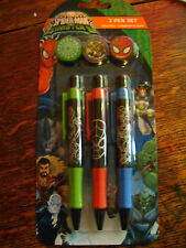 NEW ULTIMATE SPIDERMAN 3 PEN SET WITH 3 CLIPS. SINISTER  SIX CHARACTER DESIGNS