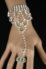 New Women Silver Rhinestones Wide Slave Ring Fashion Bracelet Hand Chain Jewelry