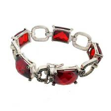 Red CZ & Marcasite Bracelet Sterling Silver Jewelry Vintage Antiqued Style
