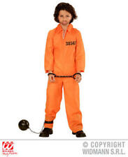 Childs Kids Orange Jail Inmate Boy Fancy Dress Costume Prisoner Outfit 8-10 Yrs